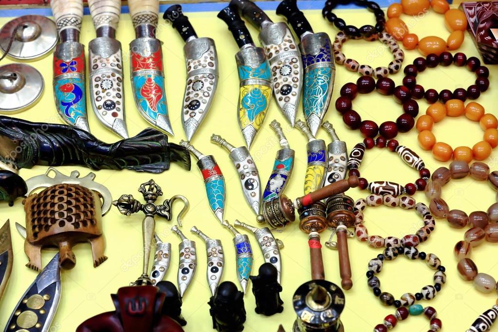 Various Nepalese Handicrafts Pokhara Nepal 0679 Stock Photo