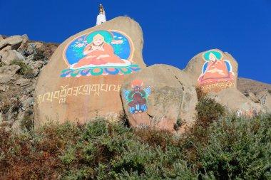 Buddhist mani stones-om mani padme hum. Drepung monastery-Tibet-China. 1202