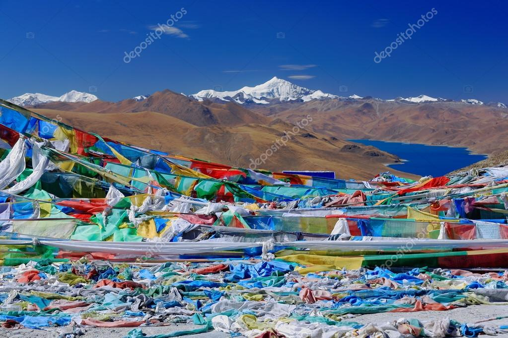 Prayer flags overlooking YamdrokTso-Lake. Kamba La-pass. Tibet. 1537
