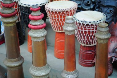 Traditional drums-masks-trumpets. Kathmandu-Nepal. 2005