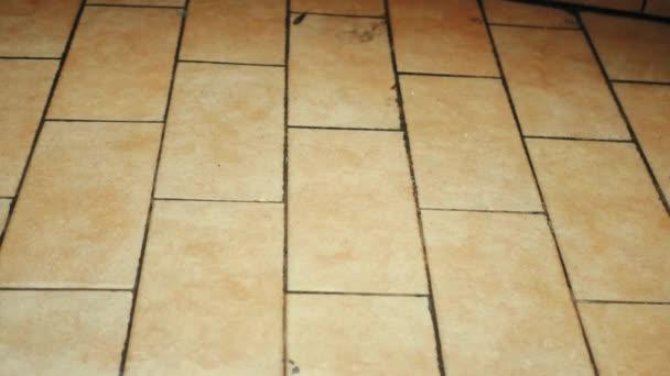 Dešťové kapky padají na dlážděnou podlahu terasy