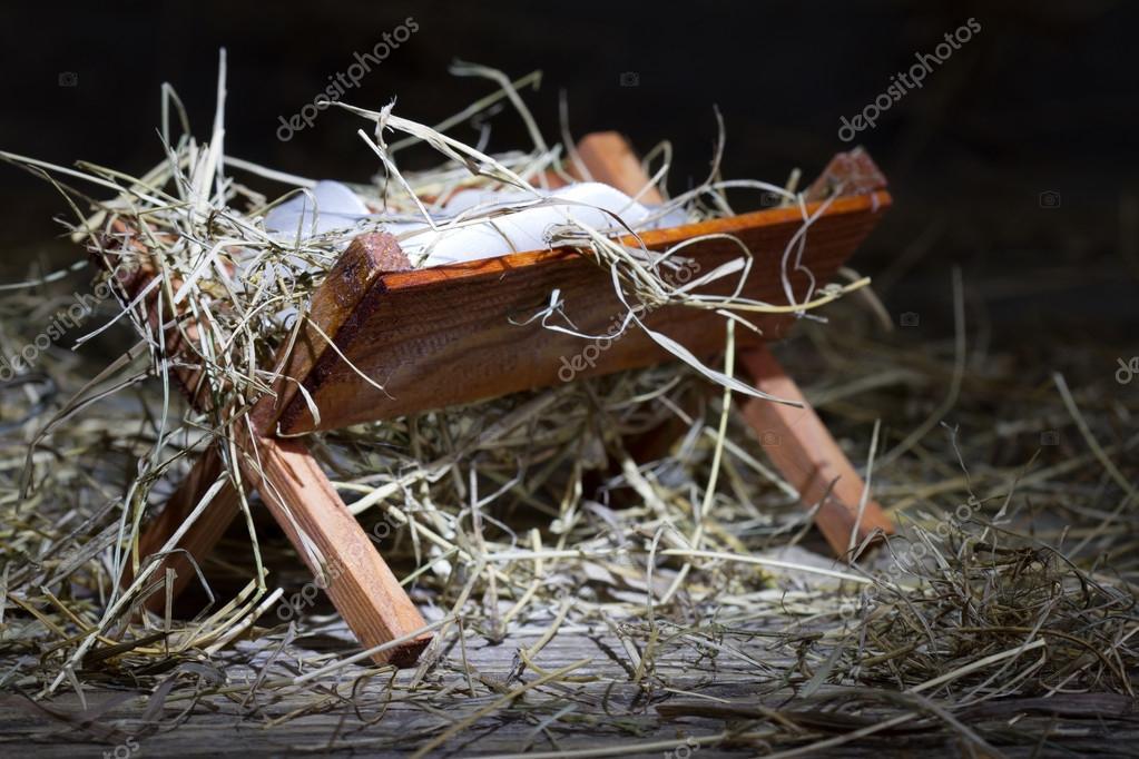Krippe im stabilen abstrakten Symbol weihnachten — Stockfoto © udra ...