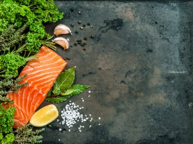Salmon fish fillet with herbs and spices