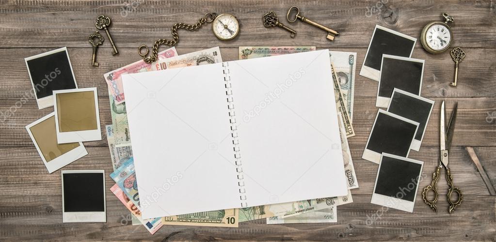 Journal, polaroid photo frames, cash money — Stock Photo ...