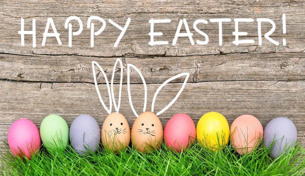 Osterhasen Eier Süß Witzige Dekoration Frohe Ostern Stockfoto