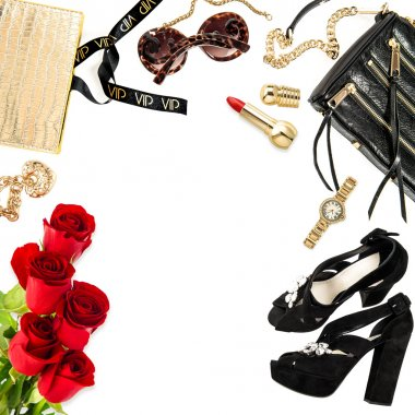 Fashion lady website concept. Accessories, cosmetics, flowers