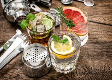 Fruit drinks Cocktail bar tools, shaker, glasses vintage