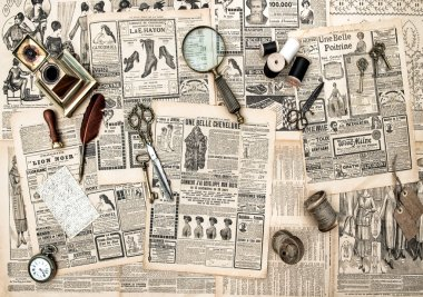 antique accessories, sewing and writing tools, vintage advertisi