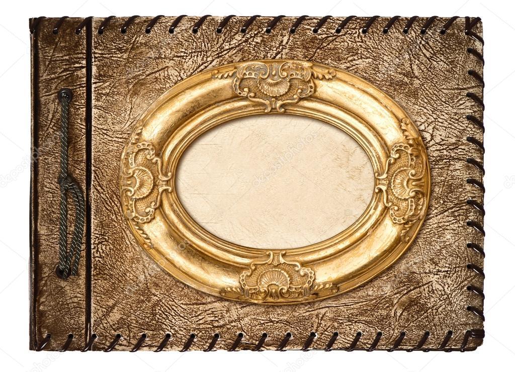 álbum de foto de época. cubierta de cuero y marco dorado — Foto de ...