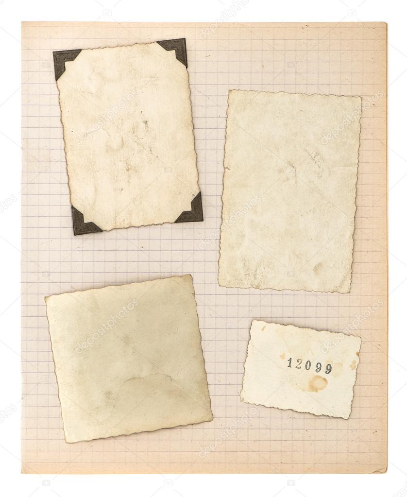 Marcos de fotos antiguas y página del libro de matemáticas — Foto de ...