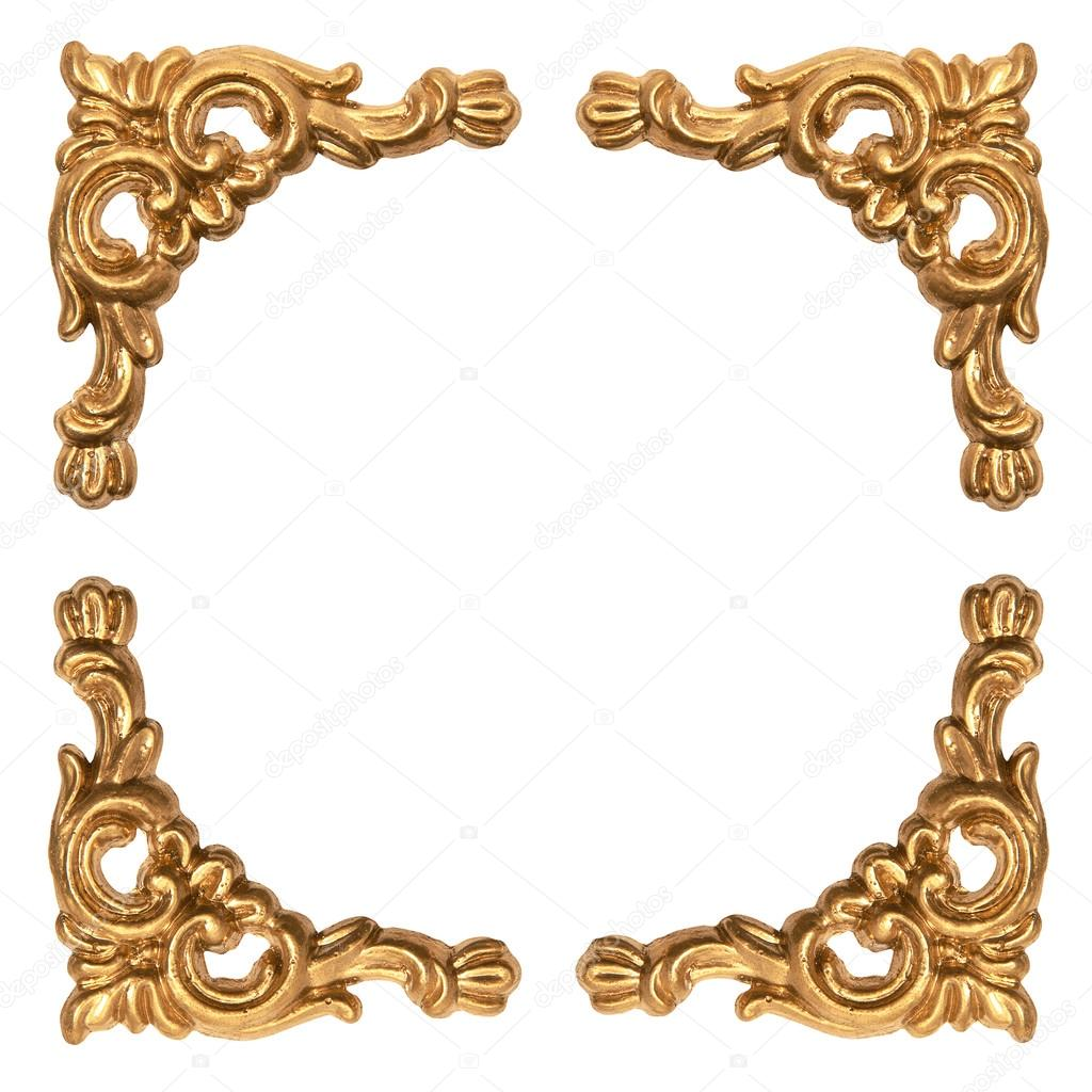 golden elements of carved baroque frame isolated on white — Stock ...