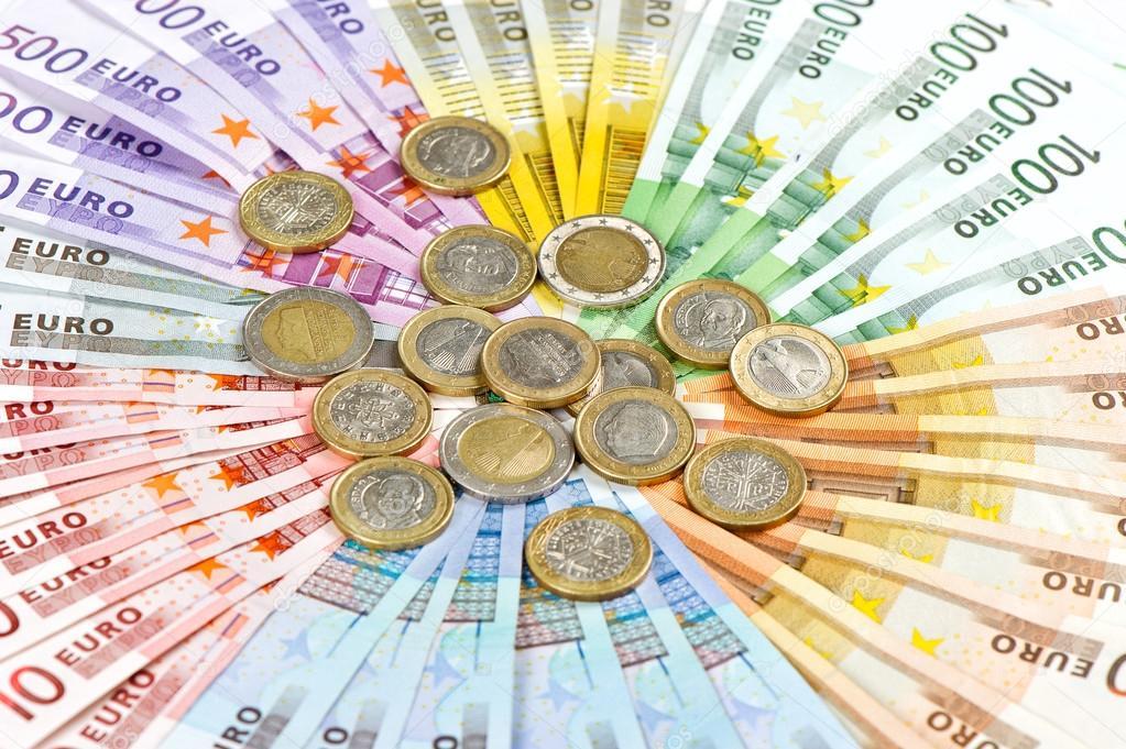 Mince A Bankovky Eura. Peníze Pozadí
