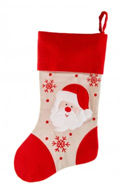 christmas stocking. red sock with Santa Claus and snowflakes