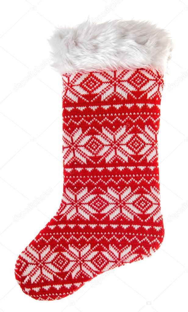 Weihnachtsstrumpf. Gestrickte Socke für Geschenke. Winter Urlaub ...