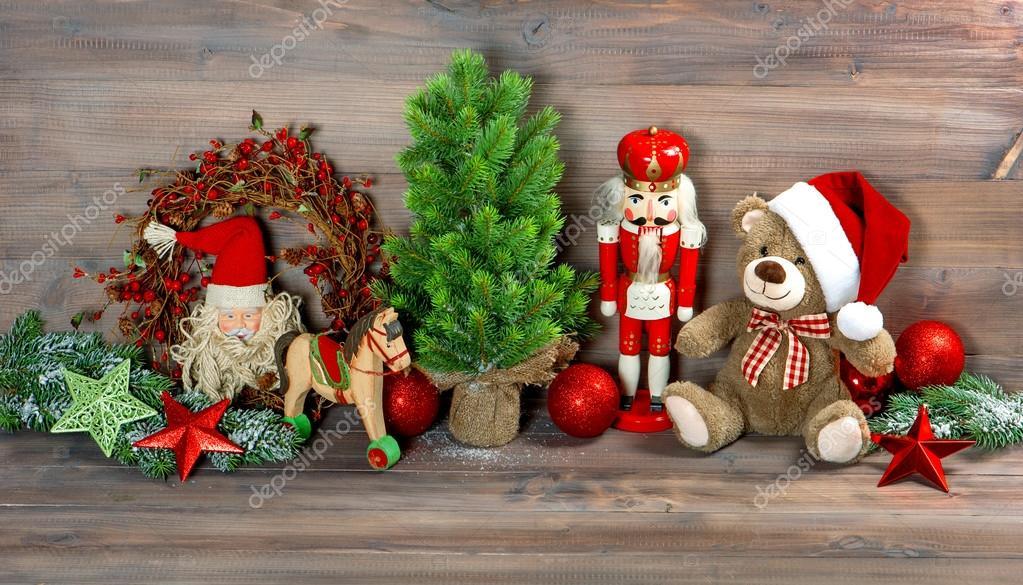 D coration de no l avec jouets ours en peluche et casse noisette photographie liligraphie - Nounours noel ...