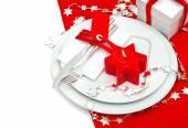 Tabelle Gedeck Weihnachtsdekoration in rot und Silber