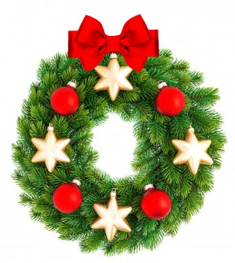 christmas wreath decorated with red and golden ornaments