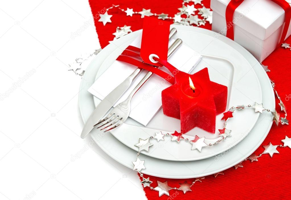 Décoration De Couverts De Table De Noël En Rouge Et Argent