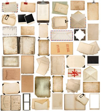 aged paper, books, pages and old postcards isolated on white
