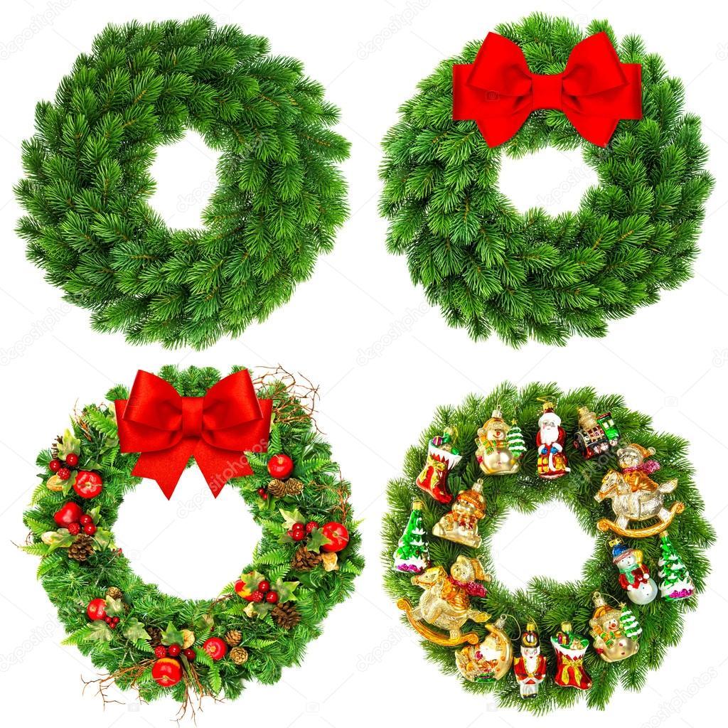 Guirnalda de la navidad sin decorar y decoradas con - Guirnalda de navidad ...
