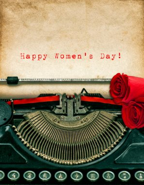 Vintage typewriter and  Women's Day text