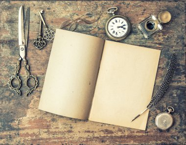 Journal book and vintage writing tools