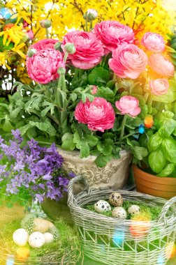 Flowers and easter eggs decoration.