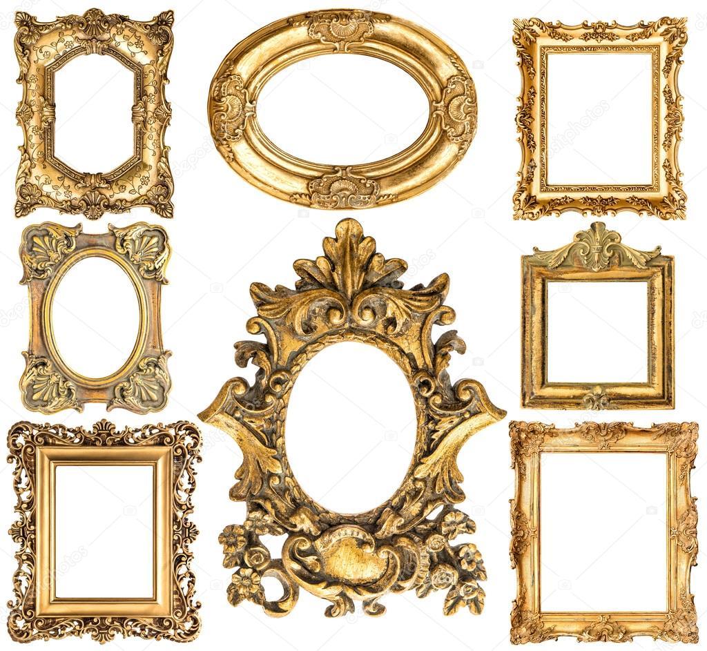 Marcos dorados. Objetos antiguos de estilo barroco. Colección ...