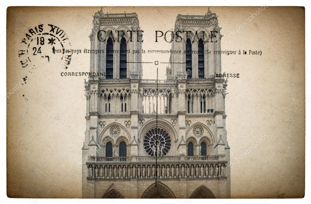Cartão postal francês de Paris com Marco Notre Dame — Fotografias de ...