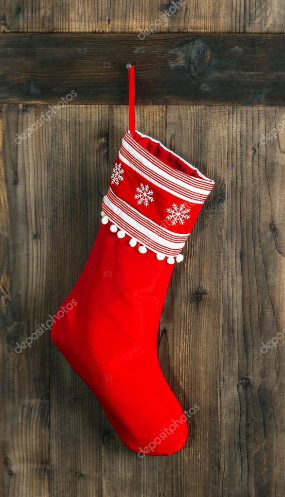 Weihnachtsstrumpf. Rote Socke für Santa Geschenke. Urlaub decoratio ...