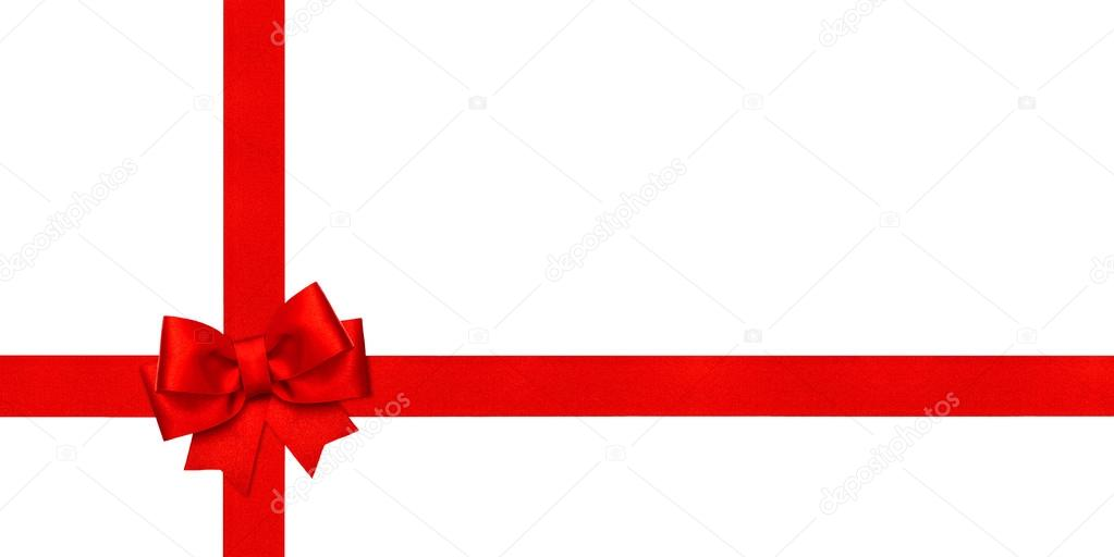 Red Ribbon Bow Holidays Background Gift Card Concept Stock Photo