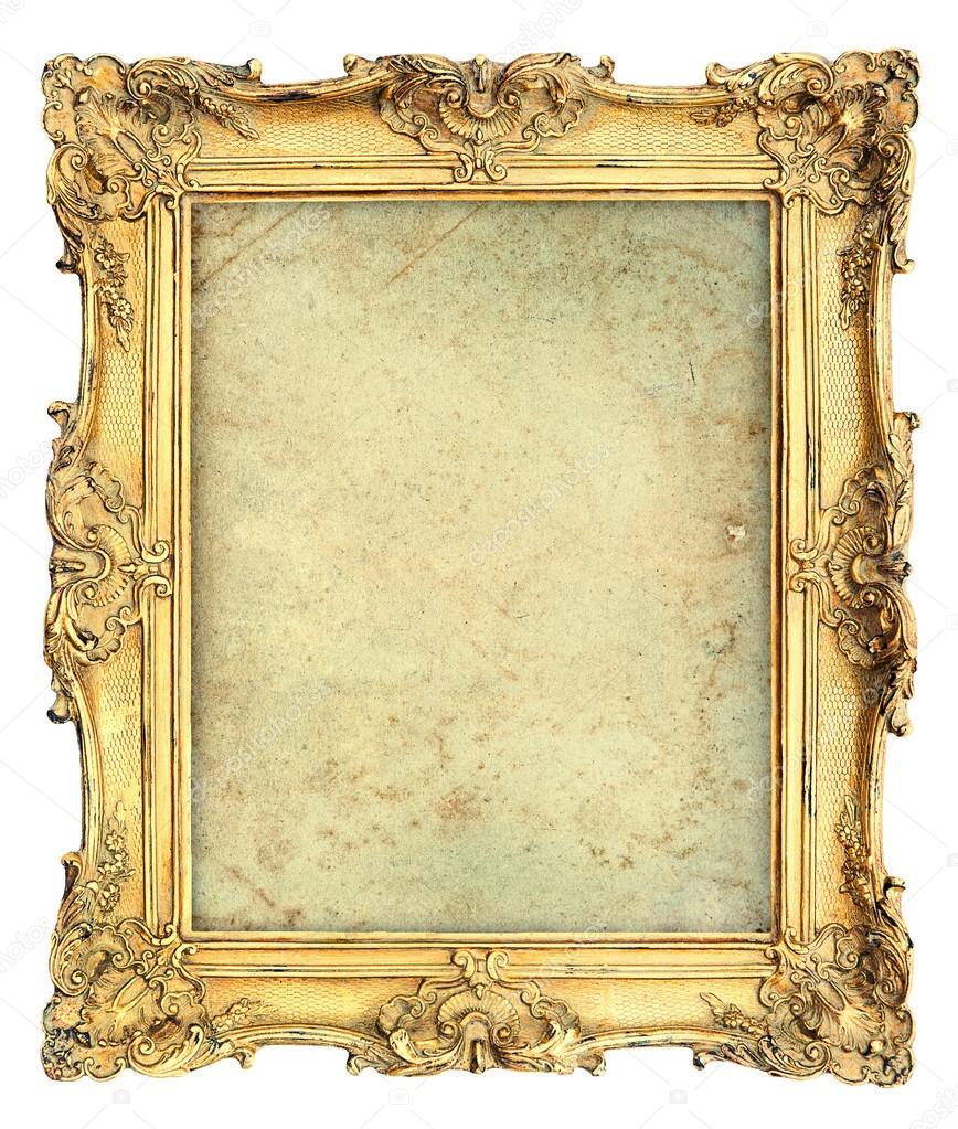 Goldene Barock Bilderrahmen mit Leinwand. Vintage-Objekt — Stockfoto ...