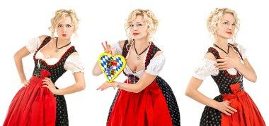 Bavarian woman in typical dress dirndl Oktoberfest