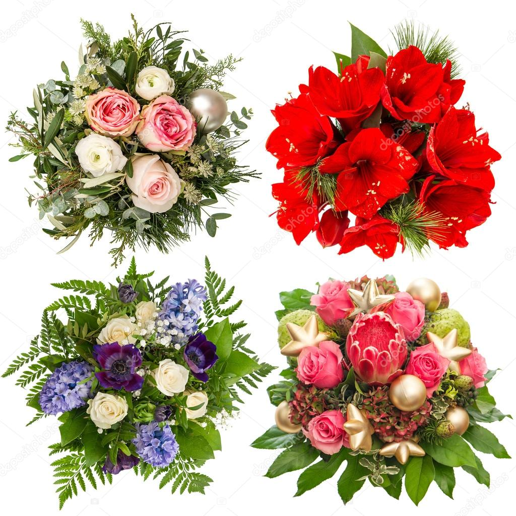 Flowers bouquet roses hyacinth amaryllis protea isolated flowers bouquet for christmas and new year holidays roses amaryllis hyacinth protea isolated on white background photo by liligraphie dhlflorist Choice Image