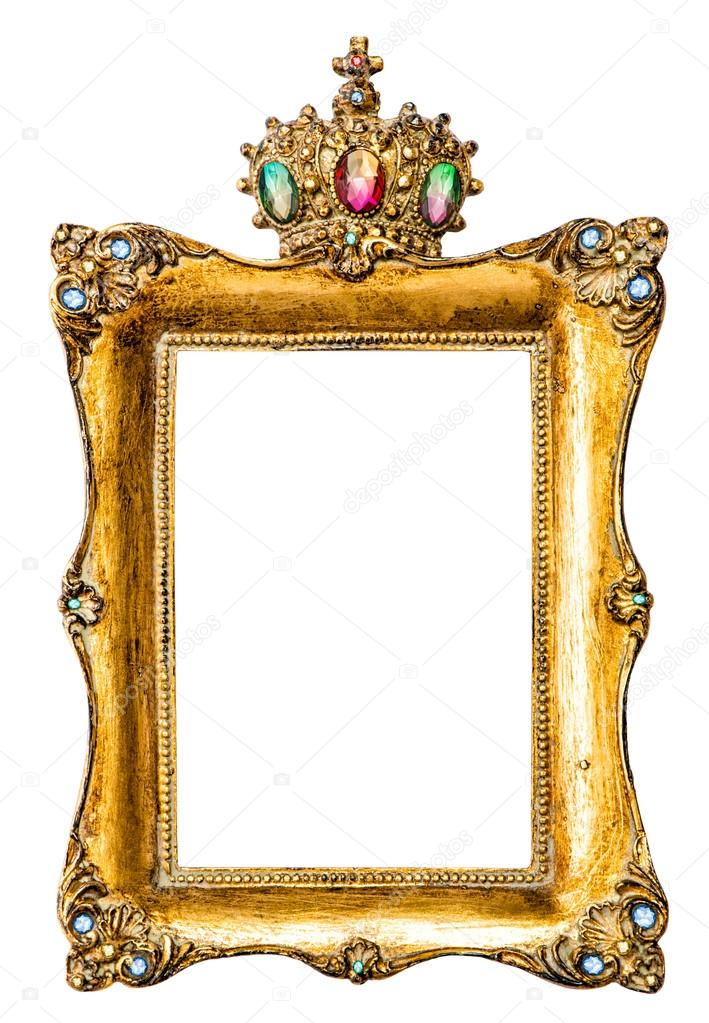 Golden picture frame decorated with gemstones — Foto de stock ...