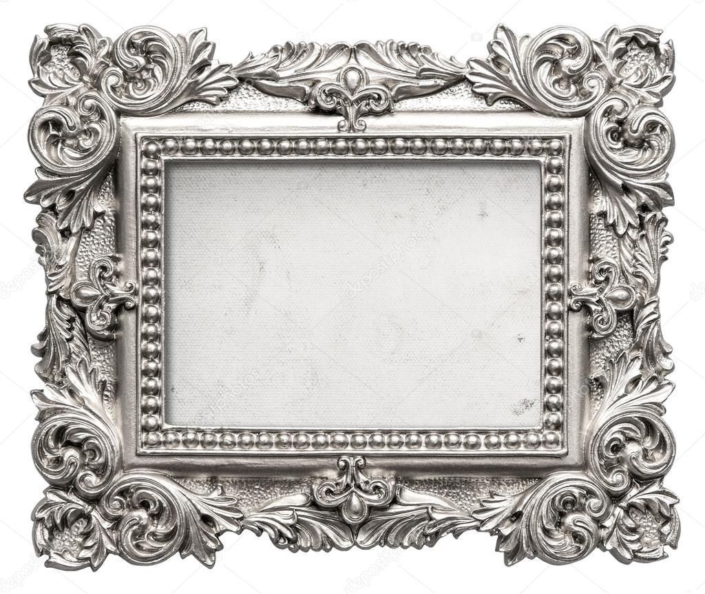Silber Bilderrahmen mit grungy Leinwand. Alte barocke Objekt ...