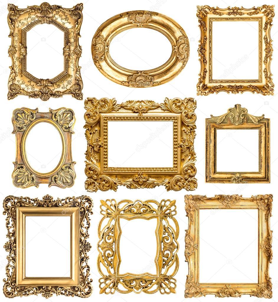 Goldene Rahmen. Barock Vintage-Objekte. Antike Bilder — Stockfoto ...