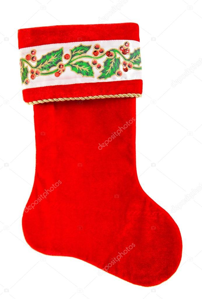Weihnachtsstrumpf. Rote Socke für Weihnachtsmanns Geschenke isoliert ...
