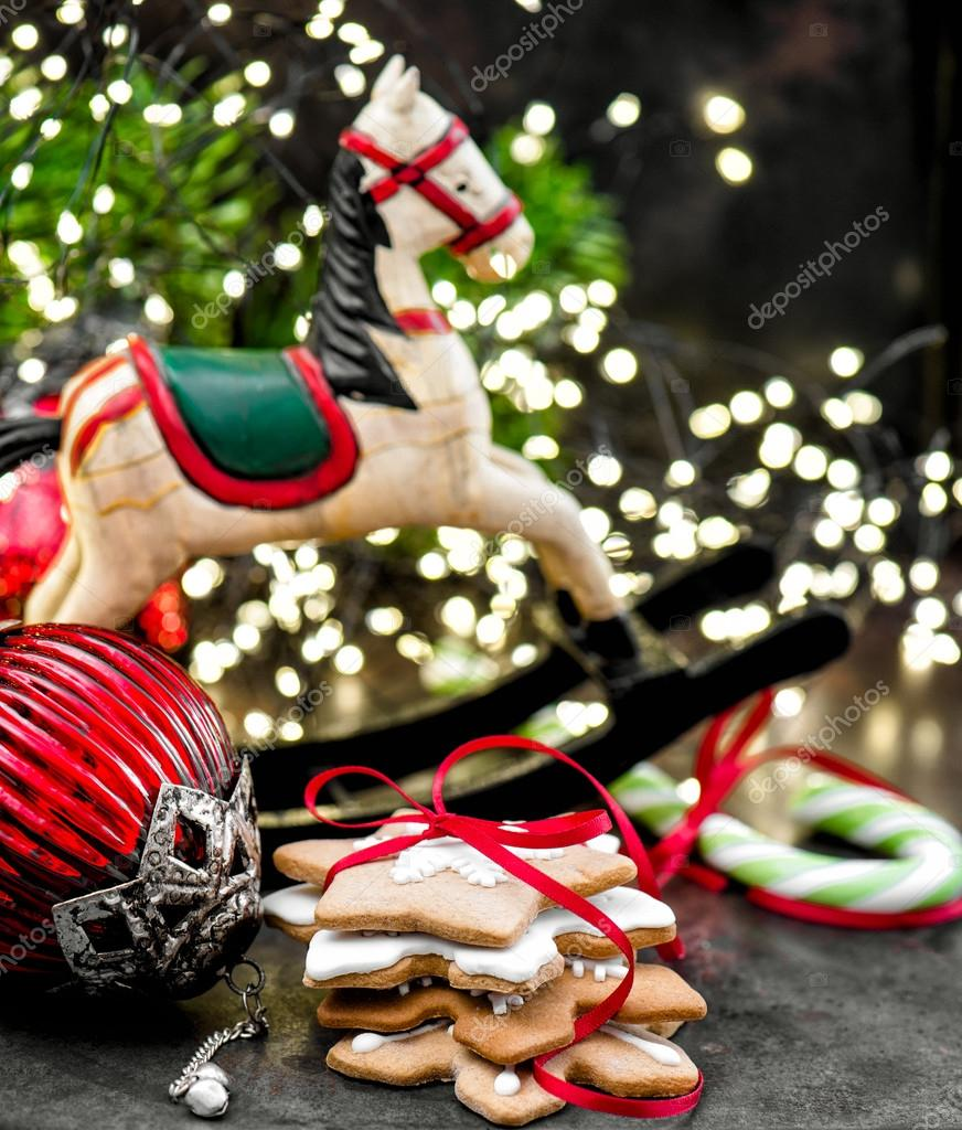 Christmas Decoration Rocking Horse And Handmade Cookies Stock Photo C Liligraphie 90727032