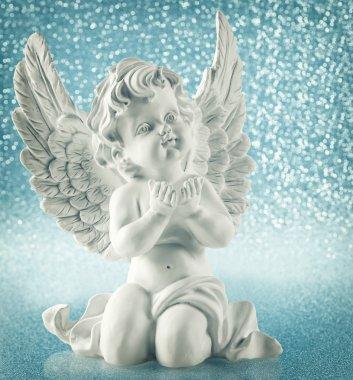 Guardian angel over shiny lights. Christmas decoration vintage s