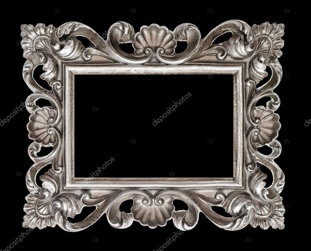 Marco vintage estilo barroco plata aislado sobre negro — Foto de ...