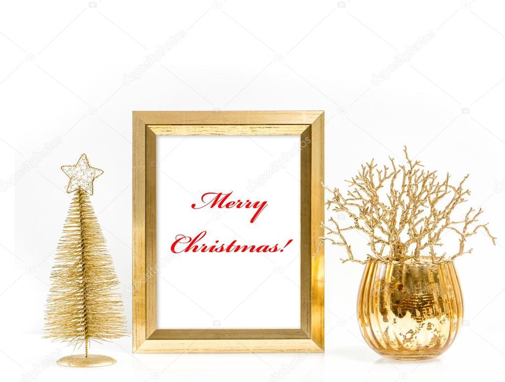 Goldene Bild Rahmen und Christmas Ornamente Frohe Weihnachten ...