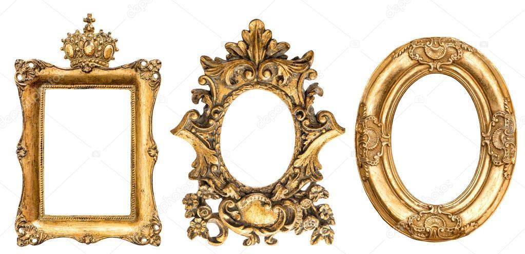 Fondo de marco blanco barroco cuadro oro — Foto de stock ...