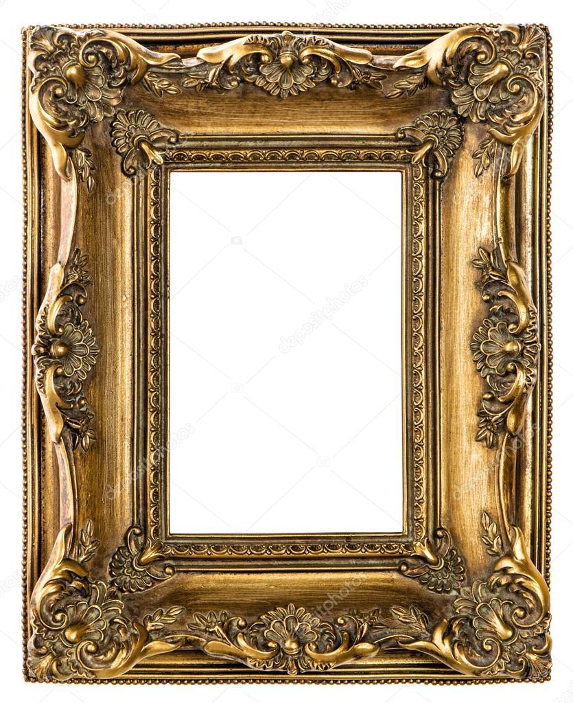 Goldene Barock Bilderrahmen auf weißem Hintergrund — Stockfoto ...