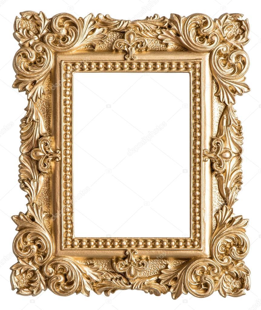 Estilo barroco de oro foto marco. Objeto de arte vintage — Foto de ...