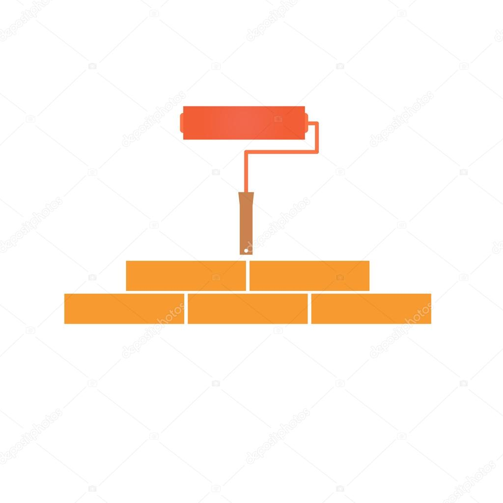 Paint roller and bricklaying. Concept of construction.