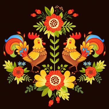 colorful roosters and flowers
