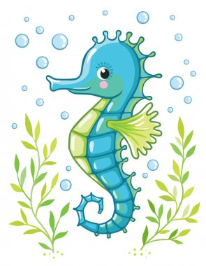 Cute cartoon Sea horse