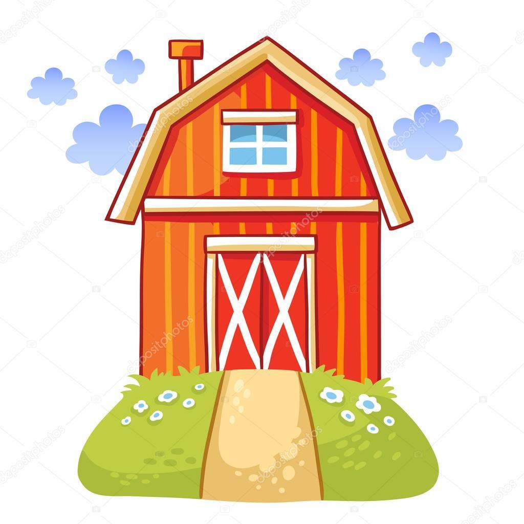Sevimli çizgi Ev çayır Stok Vektör Svaga 118607040