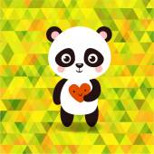Photo little panda on triangles background